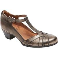 Rockport Women's Cobb Hill Angelina T-Strap Metallic Leather