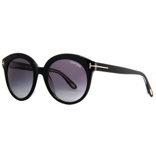 Tom Ford Monica TF 429 03W Shiny Black Crystal Gradient Women's Round Sunglasses - shiny black crystal - 54mm-20mm-140mm