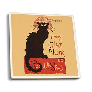 Chat Noir Cabaret Troupe Black Cat - Vintage Ad (Set of 4 Ceramic Coasters)