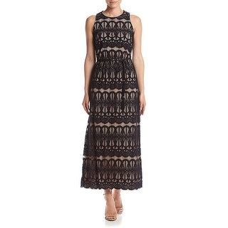 Jessica Howard Petite Lace Maxi Evening Gown Dress Black/Nude - 6P
