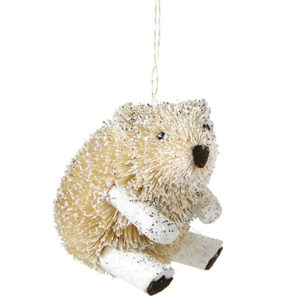 "3.5"" Snowy Winter Glitter Embellished Wooden Bristled Snow Bear Christmas Ornament"