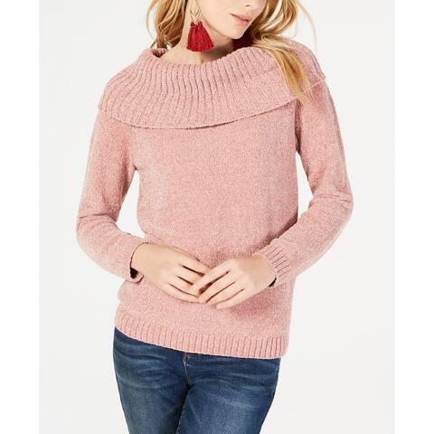 INC International Concepts Women's Cowl-Neck Chenille Sweater Rose Size Medium
