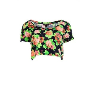 Timing Womens Juniors Jersey Floral Print Crop Top - M