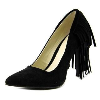 Mia Madalyn Women  Pointed Toe Suede Black Heels