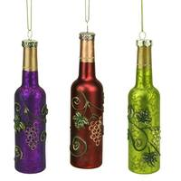 "6"" Tuscan Winery Purple Wine Bottle Mercury Finish Glass Christmas Ornament"