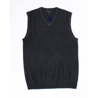 Club Room NEW Charcoal Gray Mens Size XL Solid Vest Cashmere Sweater