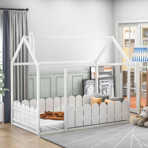 Kids Wooden Bed House Bed Frame with Fence