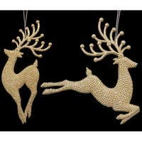 Pack of 12 Seasons of Elegance Gold Glitter Reindeer Christmas Ornaments
