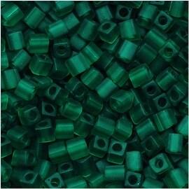 Miyuki 4mm Glass Cube Beads Transparent Matte Emerald Green 147F 10 Grams