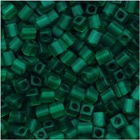 Miyuki 4mm Glass Cube Beads Transparent Matte Emerald Green 147F 10 Grams