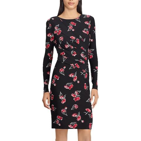 American Living By Ralph Lauren Womens Floral-Print Jersey Dress 10 Red