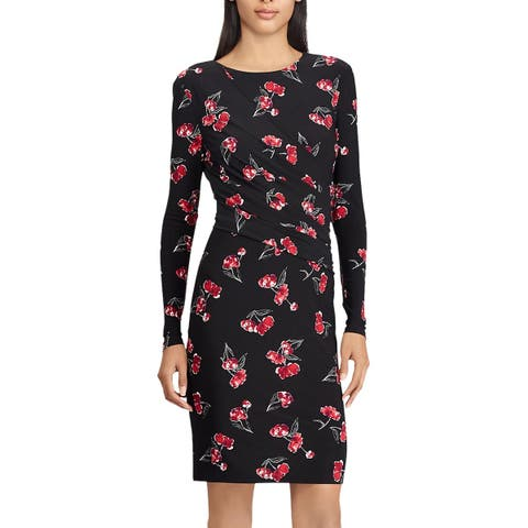 American Living By Ralph Lauren Womens Floral-Print Jersey Dress 6 Red