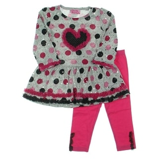 Young Hearts Toddler Heathered Pant Outfit - 2T