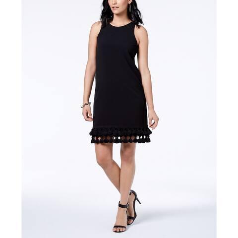 "Donna Ricco Women's Sleeveless Tassel-Hem Dress Black Size 12"""