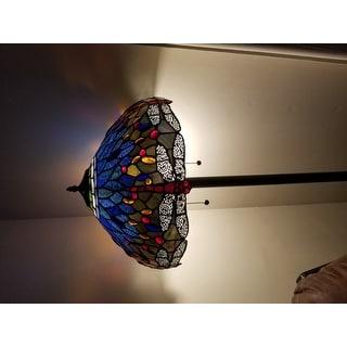Tiffany-style Blue Dragonfly Floor Lamp