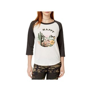 Ban.do Womens Greetings From Happy Baseball Tee Graphic 3/4 Sleeves