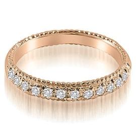 0.40 cttw. 14K Rose Gold Antique Style Milgrain Round Cut Diamond Wedding Ring