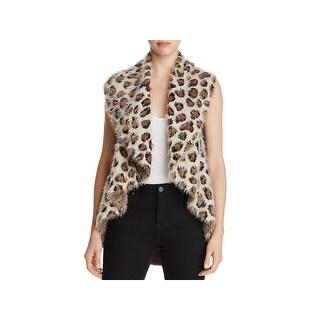 Sioni Womens Casual Vest Leopard Print Knit
