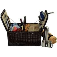 Surrey Picnic Basket for 2 with Blanket & Coffee-Brown
