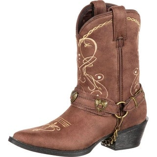 "Durango Western Boots Girls 8"" Lil Crush Heartfelt Brown"
