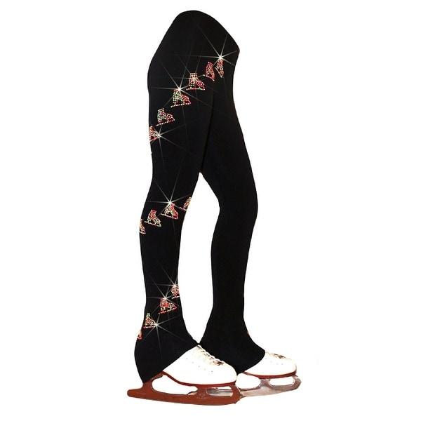 099553155db38 Ice Fire Skating Big Girls Black Neon Rhinestone Skates Microfiber Pants