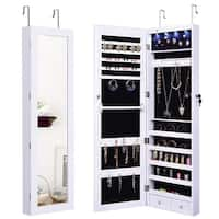 Costway door Mount Mirrored Jewelry Cabinet Lockable Armoire Organizer w/LED Lights - White