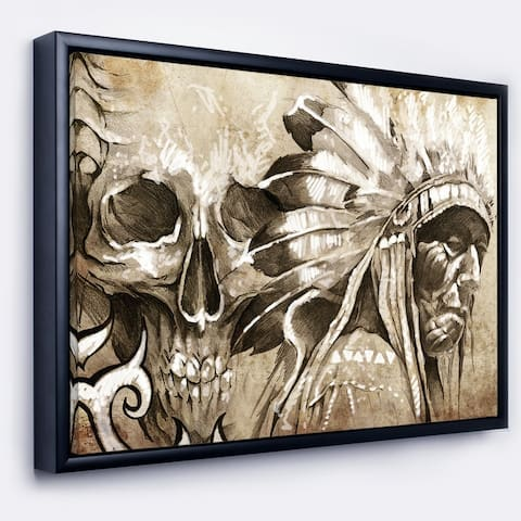 Designart 'American Indian Warrior Tattoo Sketch' Portrait Framed Canvas Print