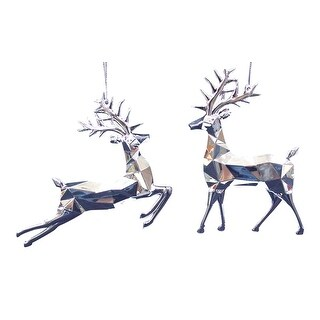 Silver Faceted Deer Christmas Holiday Acrylic Ornaments Set of 2 Kurt Adler