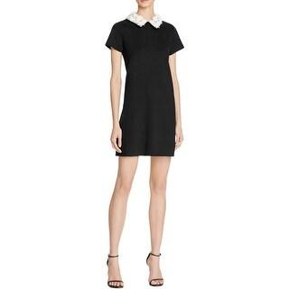 Aqua Womens Wear to Work Dress Floral Collar Short Sleeves