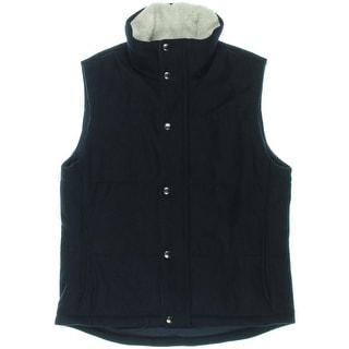 Nautica Mens Melton Wool Blend Funnel Neck Outerwear Vest