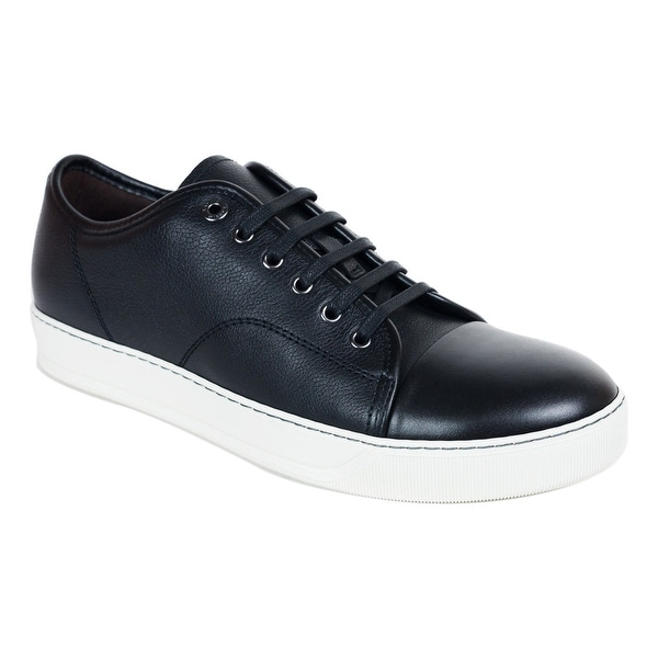 Lanvin Mens Black Grained Calfskin Lace Up DDB1 Sneakers