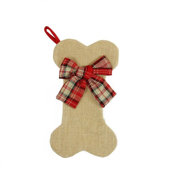 "14"" Brown Burlap Dog Bone Christmas Stocking with Red Plaid Bow"