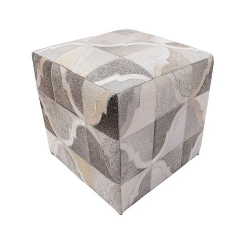 "Noori Home Geometric Hide Pouf Braxton, Grey (18""x18""x18"")"