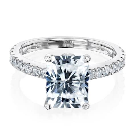Annello by Kobelli 14k Gold 3 1/6ct TGW Radiant Moissanite and Diamond Tulip Head Engagement Ring (GH/VS, GH/I)