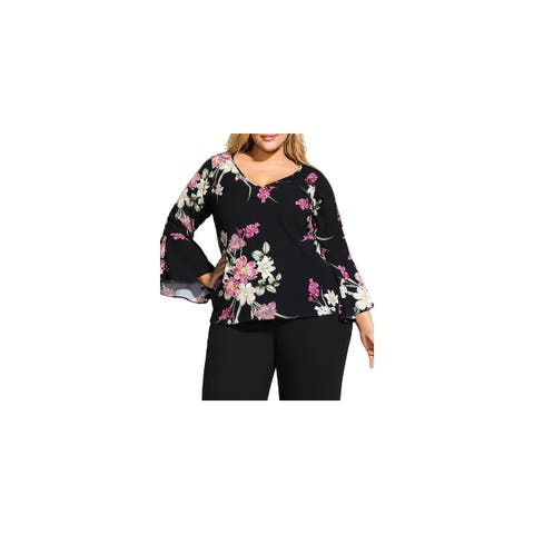 City Chic Womens Plus Pullover Top Floral V-Neck