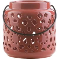 "6.5"" Madison Links Cherry Red Ceramic Small Pillar Candle Holder Lantern"
