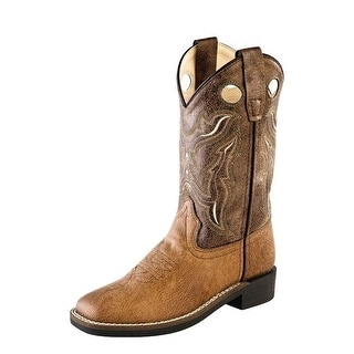 Old West Cowboy Boots Boys Girl Kid Stitching Tan Vintage Brown VB9113