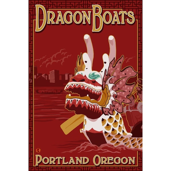 Portland, OR - Dragon Boats - LP Artwork (100% Cotton Towel Absorbent)