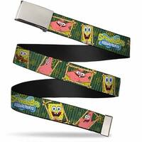 Blank Chrome Buckle Sponge Bob & Patrick Starfish Bamboo Frames Logo Web Belt