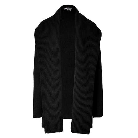 Vince Womens Black Ribbed Open Cardigan Size XS