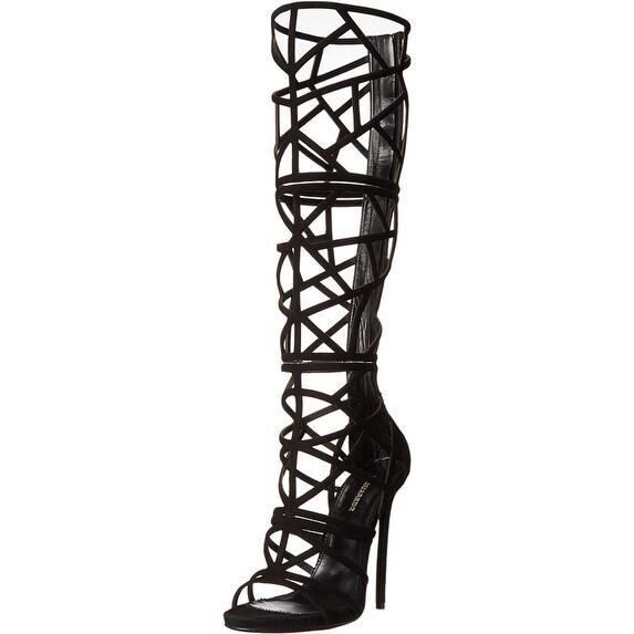 DSquared2 NEW Black Shoes Size 8M Strappy Velvet Cutout Heels