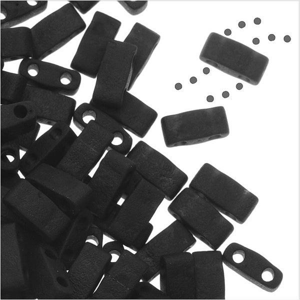 Miyuki Half Tila 2 Hole Rectangle Beads 5x2.3mm - Matte Black 7.8 Grams