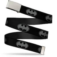 Blank Chrome Bo Buckle Bat Signal 3 Black Gray Black Webbing Web Belt
