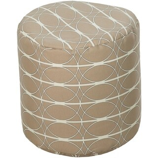 "18"" Beige and White Circle Chic Round Outdoor Patio Pouf Ottoman"