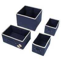 Non-Woven Cloth 2 Layers 3 Drawers Underwear Socks Ties Storage Box Dark Blue