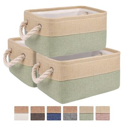 3Pcs/set Fabric Storage Bin Decorative Baskets Organizer with Handles