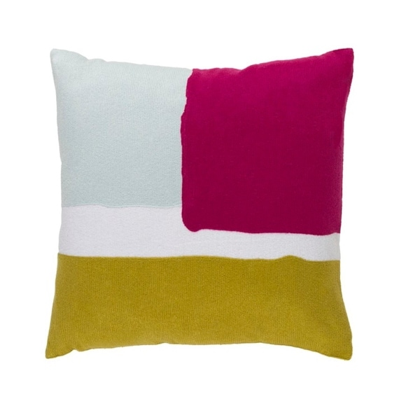 "18"" Battleship Gray, Hot Pink and White Decorative Throw Pillow"