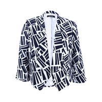 Nine West Women's Plus Size Printed Open-Front Jacket (14W, Navy/Ivory) - Navy/Ivory - 14W