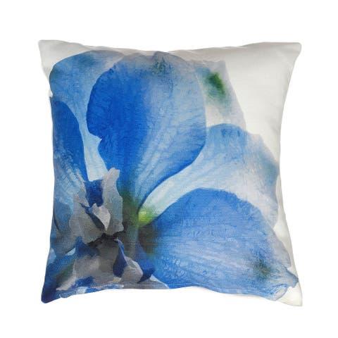 """Blue Petals Indoor Outdoor Decorative Pillow - Blue (20"""" x 20"""")"""