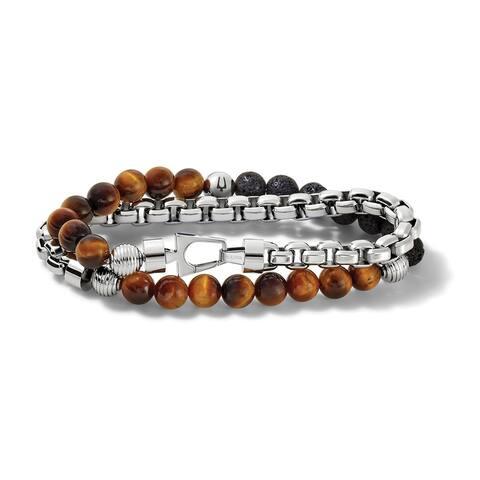 Bulova Mens Classic Wrap Bracelet - J96B023M - Silver